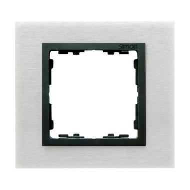 Ramka 1x inox mat / ramka pośrednia grafit 82817-31