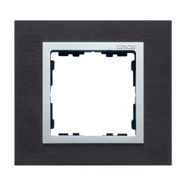 Ramka 1x inox czarny / ramka pośrednia aluminium 82917-38
