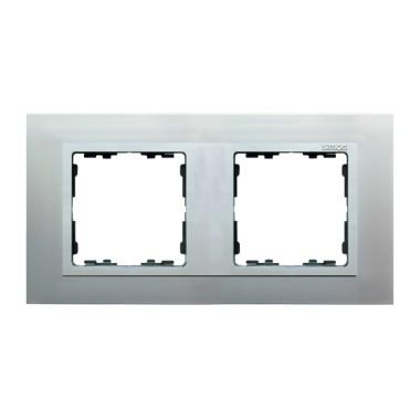 Ramka 2x aluminium / ramka pośrednia aluminium mat 82927-33