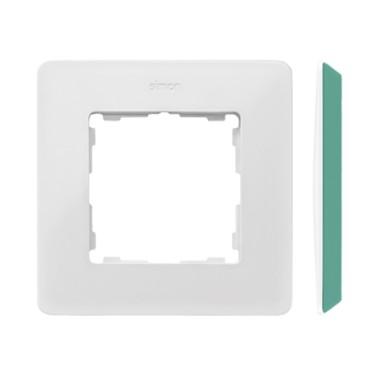Ramka 1-krotna, Detail ORIGINAL-color, BIAŁA / podstawa Akwamaryn 8200610-202
