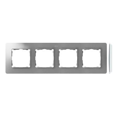 Ramka 4-krotna, Detail ORIGINAL-air, ALUMINIUM / podstawa Biała 8200640-093