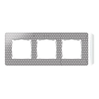 Ramka 3-krotna, Detail ORIGINAL-imagine, SZARY CIEPŁY kropki / podstawa Biała 8200630-211