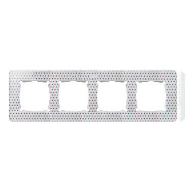 Ramka 4-krotna, Detail ORIGINAL-imagine, BIAŁA kropki / podstawa Biała 8200640-210