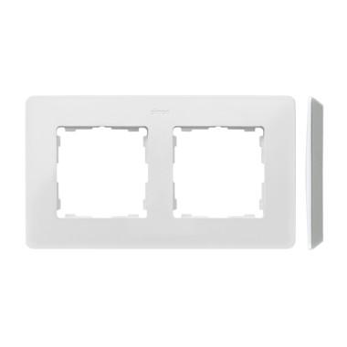 Ramka 2-krotna, Detail ORIGINAL-premium, BIAŁA / podstawa Aluminiowa 8200620-230