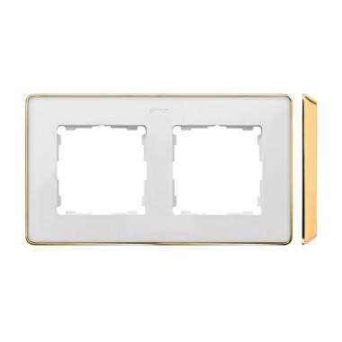 Ramka 2-krotna, Detail SELECT-metal, BIAŁA / podstawa Złota 8201620-245