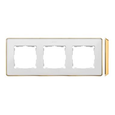 Ramka 3-krotna, Detail SELECT-metal, BIAŁA / podstawa Złota 8201630-245