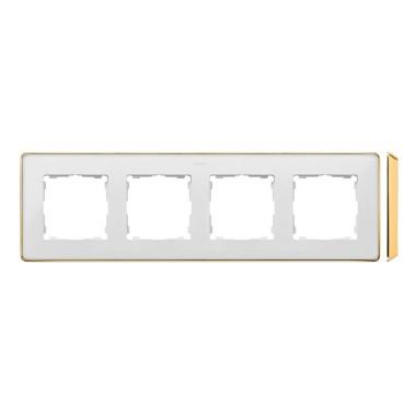 Ramka 4-krotna, Detail SELECT-metal, BIAŁA / podstawa Złota 8201640-245