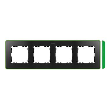 Ramka 4-krotna, Detail SELECT- fluorescent, GRAFIT / podstawa Jasno Zielona 8201640-260