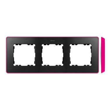 Ramka 3-krotna, Detail SELECT- fluorescent, GRAFIT / podstawa Różowa 8201630-261