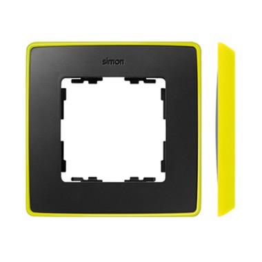 Ramka 1-krotna, Detail SELECT- fluorescent, GRAFIT / podstawa Żółta 8201610-262