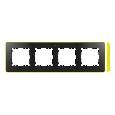 Ramka 4-krotna, Detail SELECT- fluorescent, GRAFIT / podstawa Żółta 8201640-262