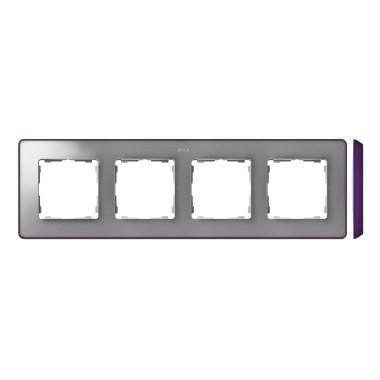 Ramka 4-krotna, Detail SELECT-metalik kolor, ALUMINIUM / podstawa Fioletowa 8201640-254