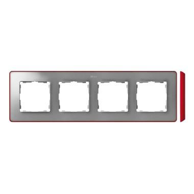 Ramka 4-krotna, Detail SELECT-metalik kolor, ALUMINIUM / podstawa Czerwona 8201640-255