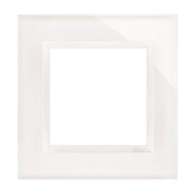 Ramka pojedyncza SIMON 54 NATURE szklana - biała perła DRN1/70