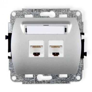 Mechanizm gniazda komputerowego podwójnego 2xRJ45, kat. 6, ekranowane, 8-stykowy Karlik TREND 5GK-6 srebrny