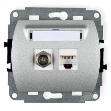 Mechanizm gniazda antenowego poj. typu F (SAT) + gniazda komp. poj. 1xRJ45, kat. 5e, 8-stykowy Karlik TREND 7GFK srebrny metalik