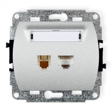 Mechanizm gniazda telefonicznego pojedynczego 1xRJ11 + komputerowego pojedynczego 1xRJ45, kat. 5e, 8-stykowy Karlik TREND 7GTK s