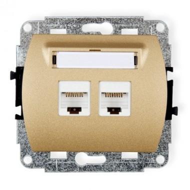 Mechanizm gniazda komputerowego podwójnego 2xRJ45, kat. 5e, 8-stykowy Karlik TREND 8GK-2 złoty metalik