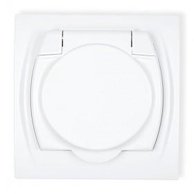 Gniazdo bryzgoszczelne 2P+Z SCHUKO (klapka biała) Karlik LOGO LGPB-1s biały