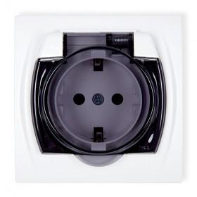 Gniazdo bryzgoszczelne 2P+Z SCHUKO (klapka dymna) Karlik LOGO LGPB-1sd biały