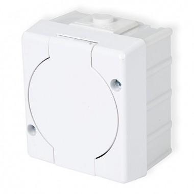 Gniazdo pojedyncze 2P+Z (klapka biała) Karlik SENIOR GHS-1 biały