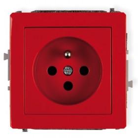Mechanizm gniazda pojedynczego 2P+Z DATA z kluczem Karlik DECO DGZK czerwony
