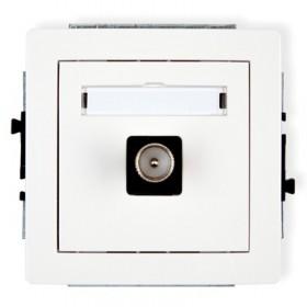 Mechanizm gniazda antenowego pojedynczego TV  Karlik DECO DGTV-1 biały